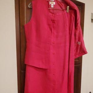 Talbots Hot Pink skirt vest new linen sz 10 womens